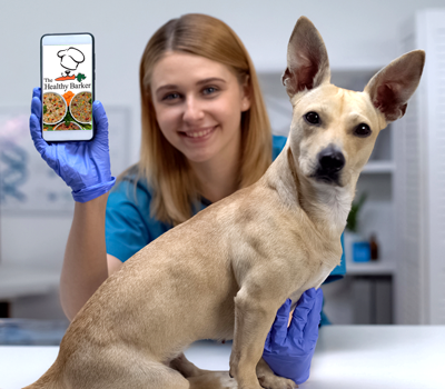 Veterinarian with dog and The Healthy Barker on cell phone